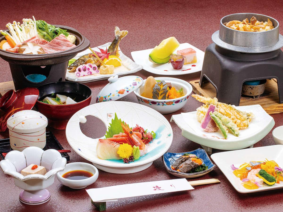 基本・創作和会席膳イメージ。料理内容は旬を大切に、時期によって内容が異なります。