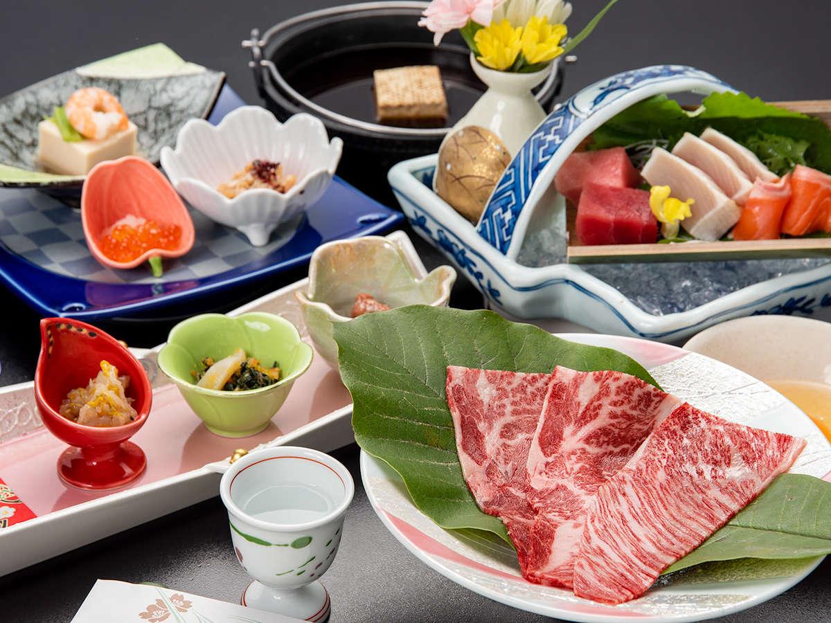 *【夕食一例】メインは上州牛のすき焼き(椿会席)