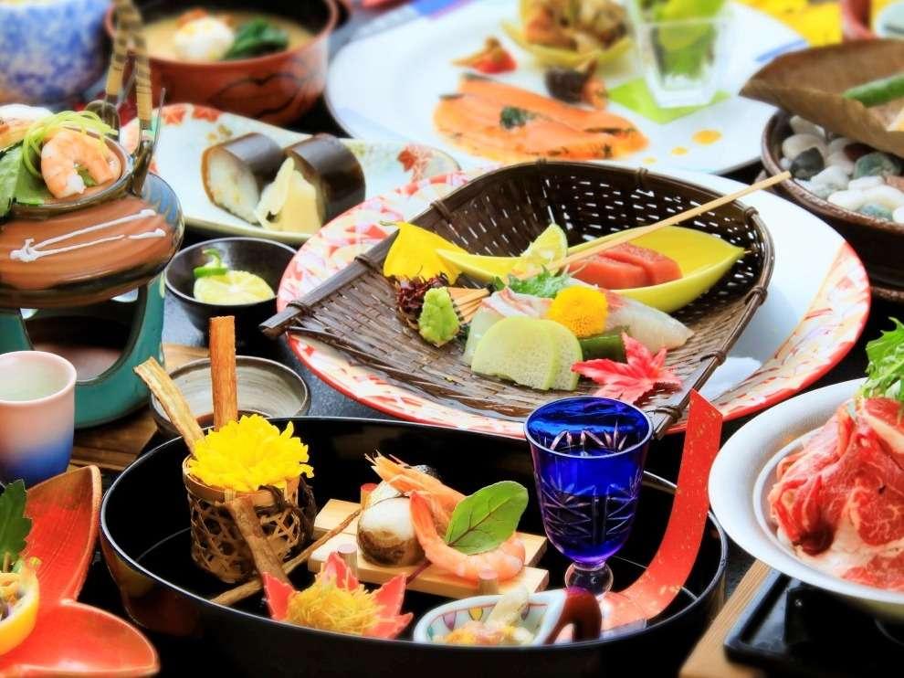 【特選会席・秋】器や彩にもこだわった会席料理です。※写真は過去の一例です。
