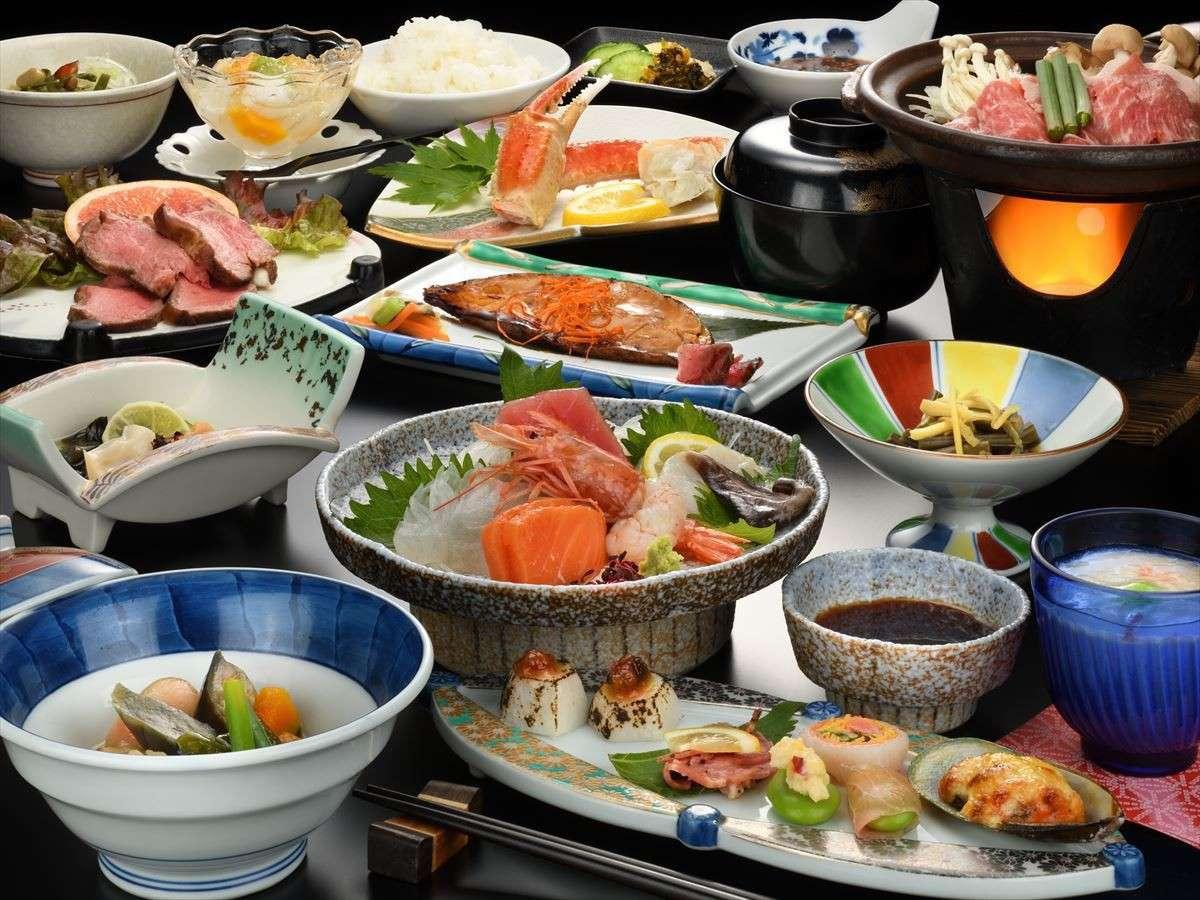 ご夕食一例 福島の郷土料理を中心に海の幸山の幸をふんだんに盛り込んでいます