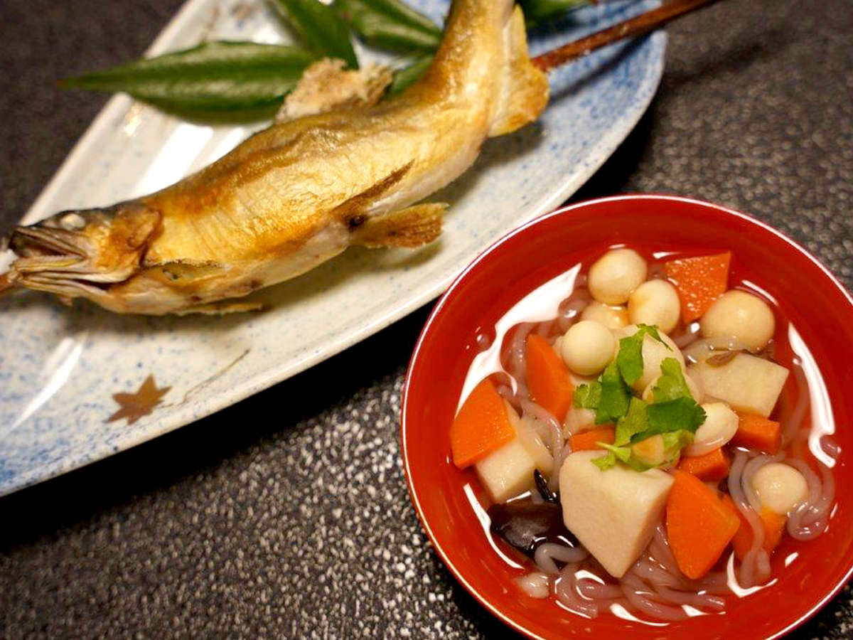 お夕食一例/奥会津ならではの「こづゆ」「岩魚の塩焼き」がおすすめ
