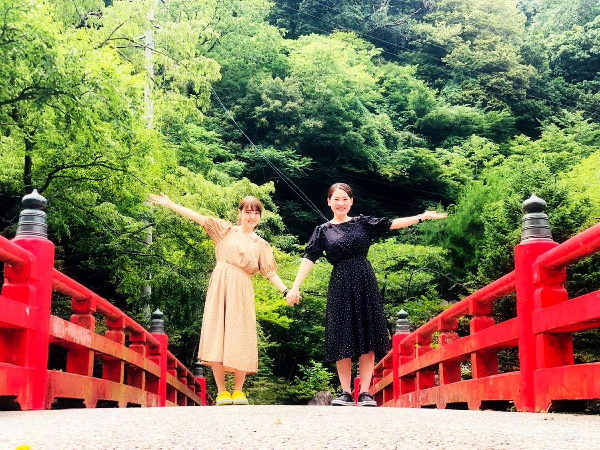 徒歩約7分…赤い橋がインスタ映え【大石公園】