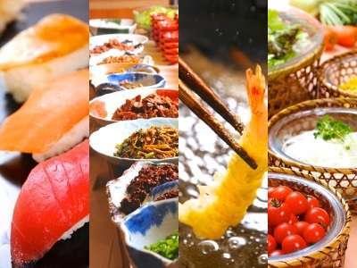 ■さざえや帆立の海鮮網焼き他、7大人気メニューと旬菜バイキング!