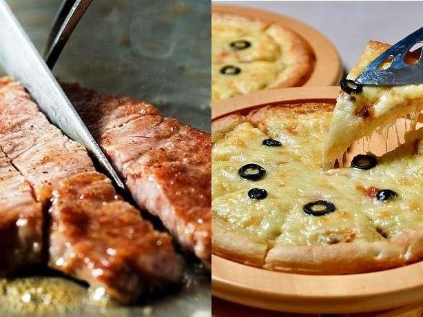 人気のサーロインステーキと南海荘オリジナルさんがピザ
