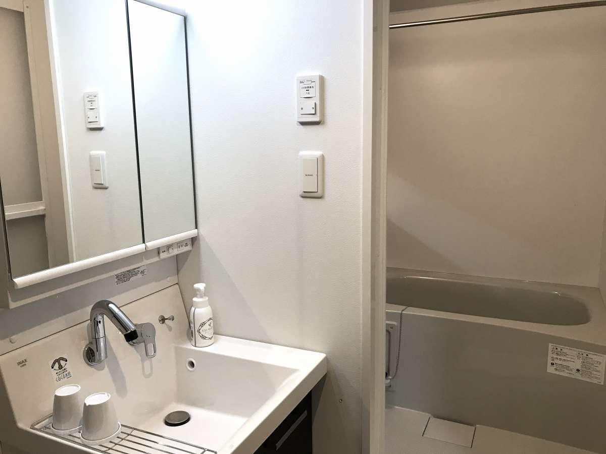 独立洗面化粧台。バスルームはもちろんトイレ別になっています。