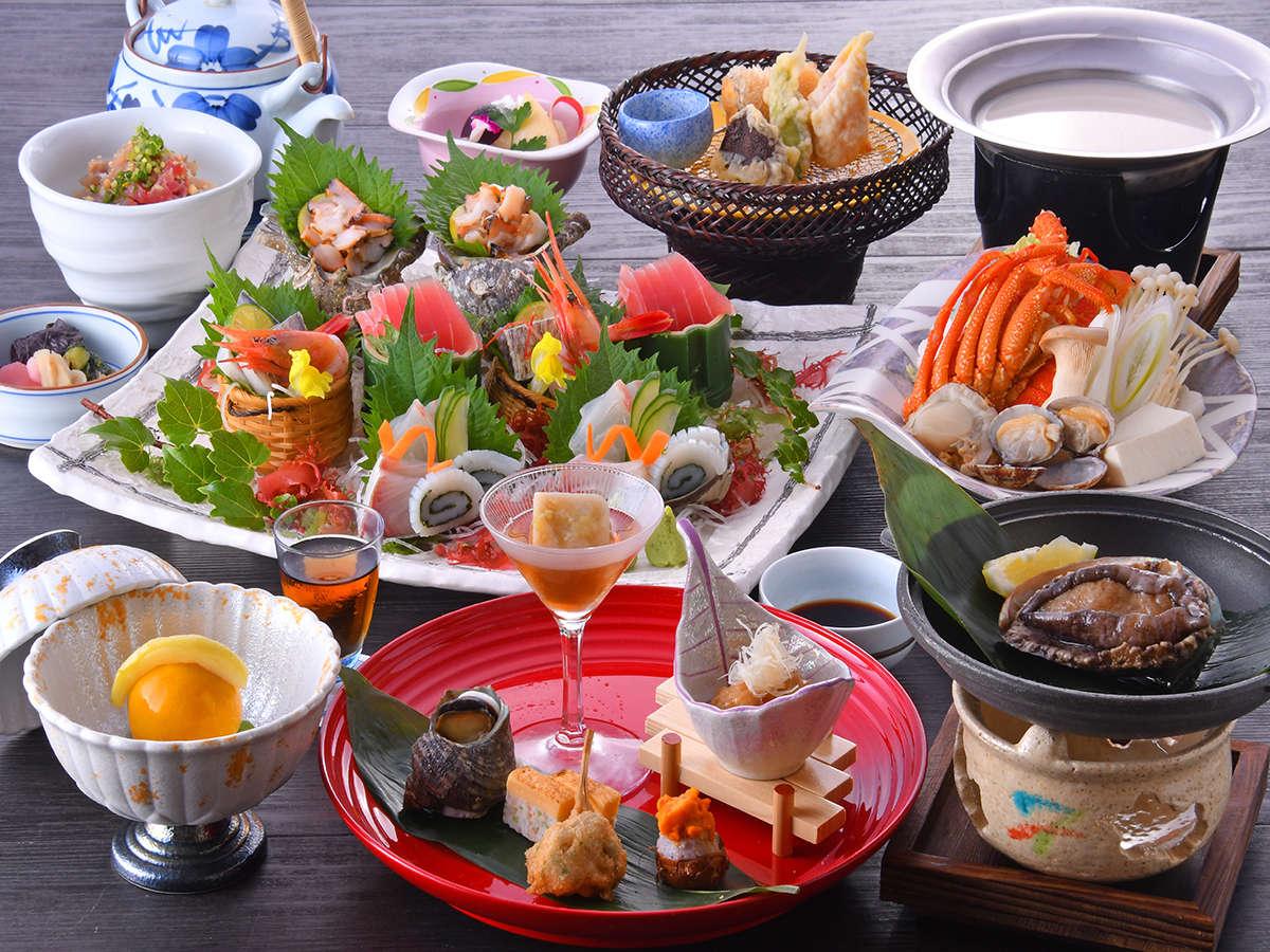 【特選和食会席】鮑やお造り大皿盛りなど、見た目にも華やかな特選会席料理