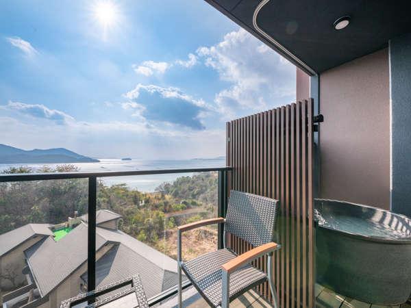 【客室露天風呂】天然温泉掛け流し露天風呂付客室 全客室オーシャンビュー