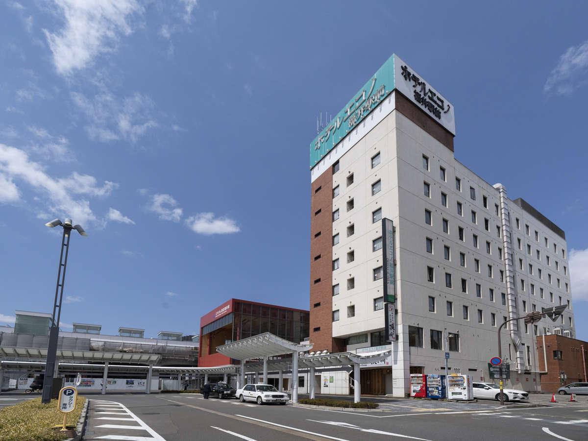 JR福井駅東口より徒歩1分。全館無線LAN対応でネット接続無料。無料朝食サービス付で会議室も完備。