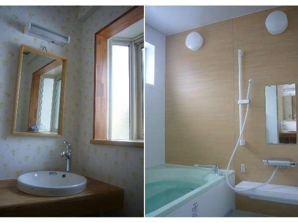 脱衣室と浴室。2014年リニューアルしました。