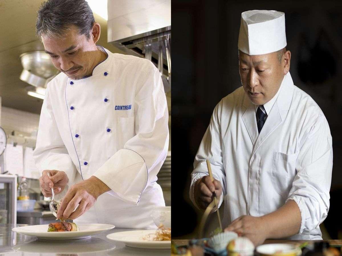 フレンチの渡邉グランシェフと和食の及川料理長が腕を振るっておもてなしを致します