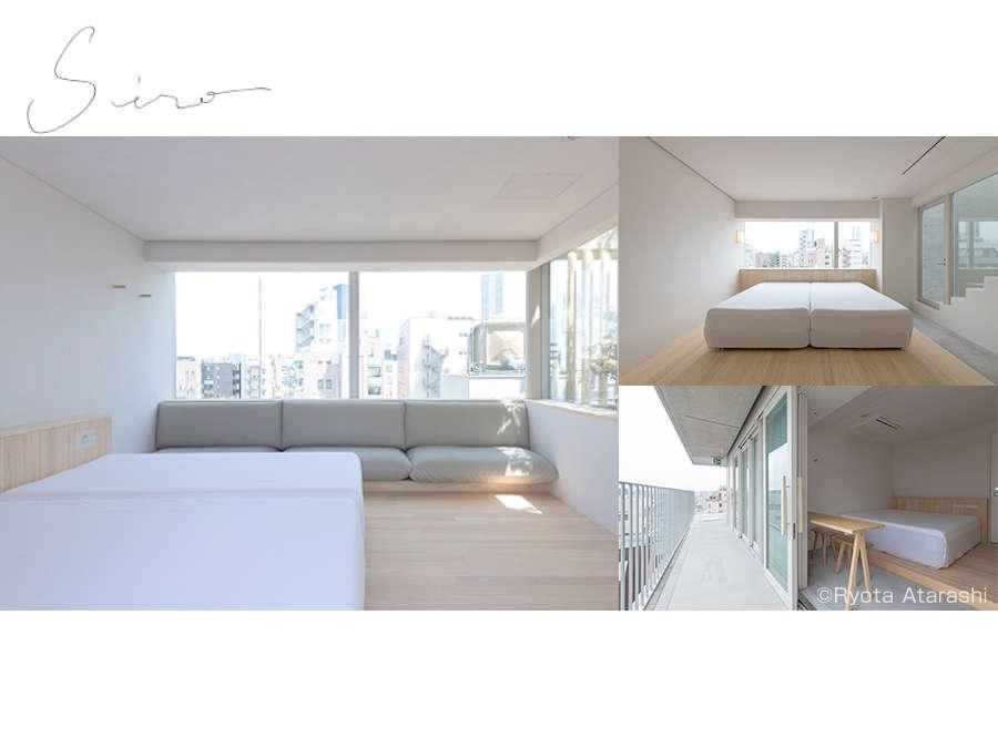 hotel Siroの客室イメージ。ホテル名の白を基調に、自然光などの光の演出にもこだわっています。