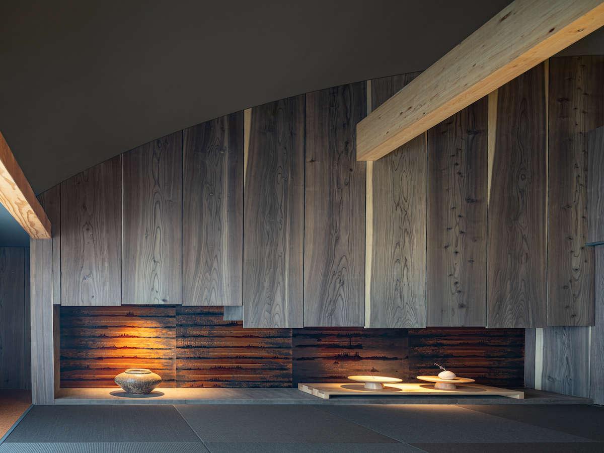 美濃和紙、飛騨刺し子や岐阜提灯などの温かみのある天然素材を使用したお部屋。