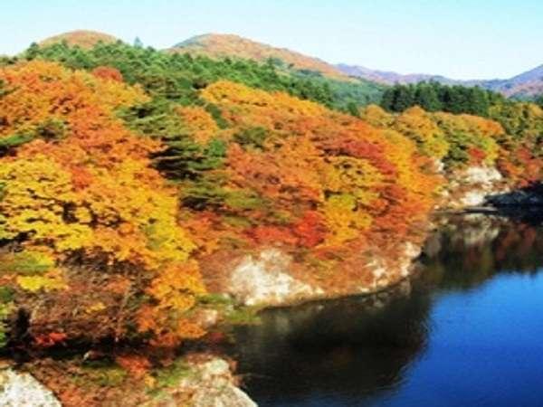 【秋】紅葉シーズン。当ホテル近くから見渡せる紅葉の景色です。11月半~後半が見どころ。