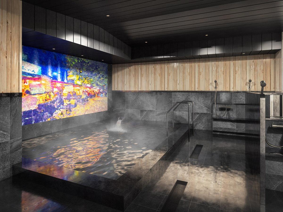 【冷泉の湯】2階の大浴場「冷泉の湯」は、15時~25時、翌朝5時30分~9時00分まで利用可能