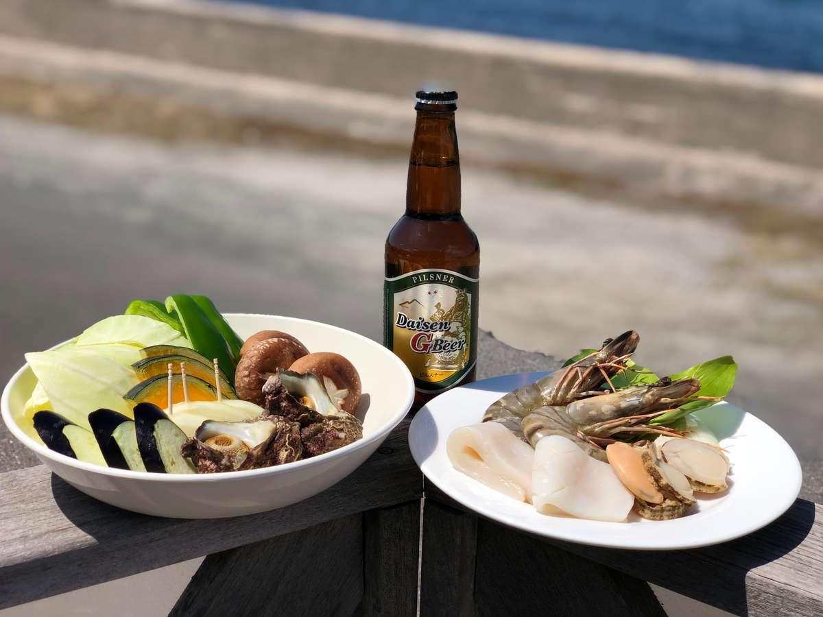 サザエ・海老・いか・帆立の4種海鮮&クラフトビールセット