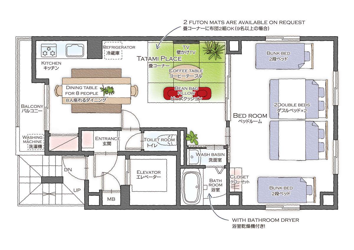 全9部屋すべて、55㎡の広いコンドミニアムタイプのお部屋。1フロア1部屋の設計でゆったり過ごせます♪