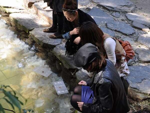 松江◆八重垣神社◆鏡の池で占い開始!!沈む時間や距離で良縁を占います・・・♪