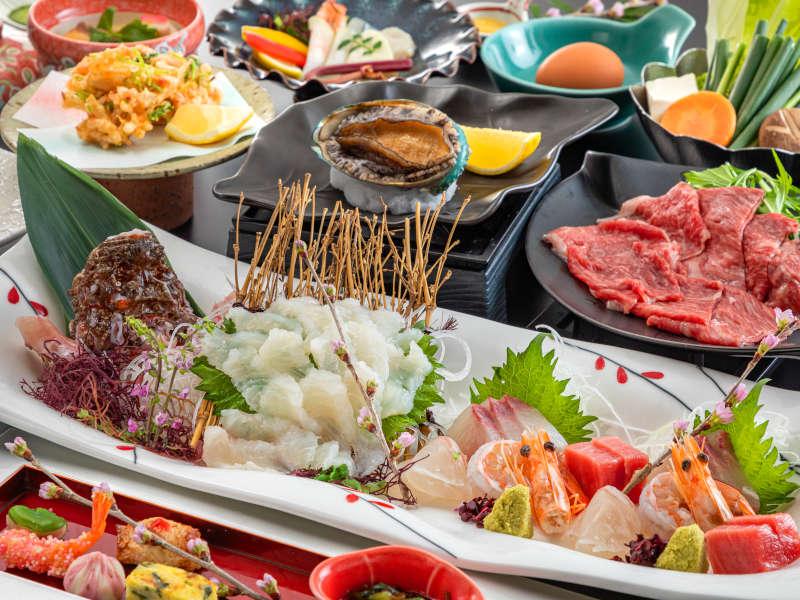 """【夕食グレードアップ-優(Yu)会席-】春の期間限定!""""高級魚おこぜ""""と和牛&鮑のコラボ!"""