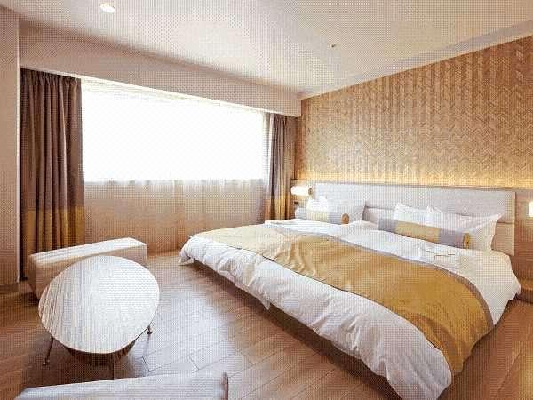 ◆ファミリアルーム◆幅240cmの広々ハリウッドツインベッドにフローリングで小さなお子様連れでも安心