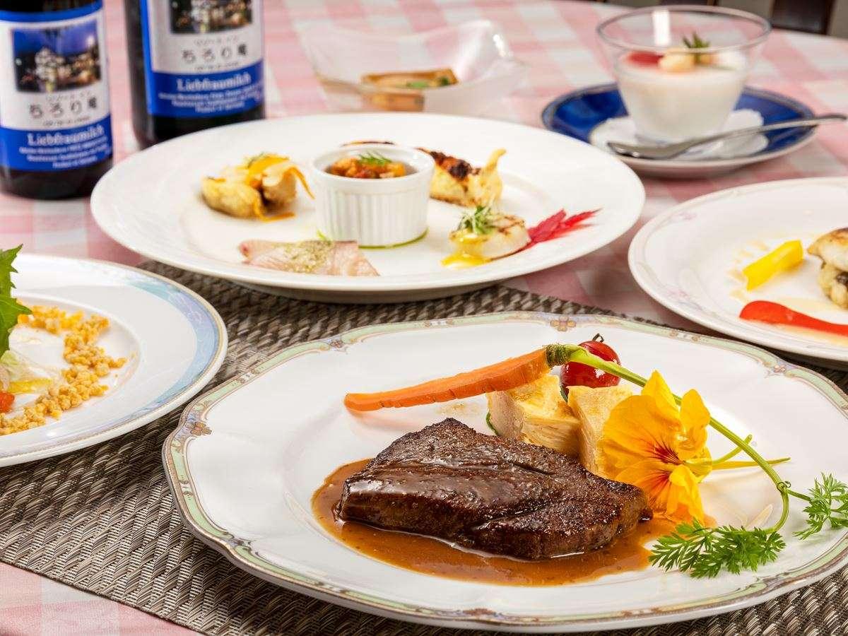 【夕食一例】飛騨牛ステーキをメインとしたコース一例