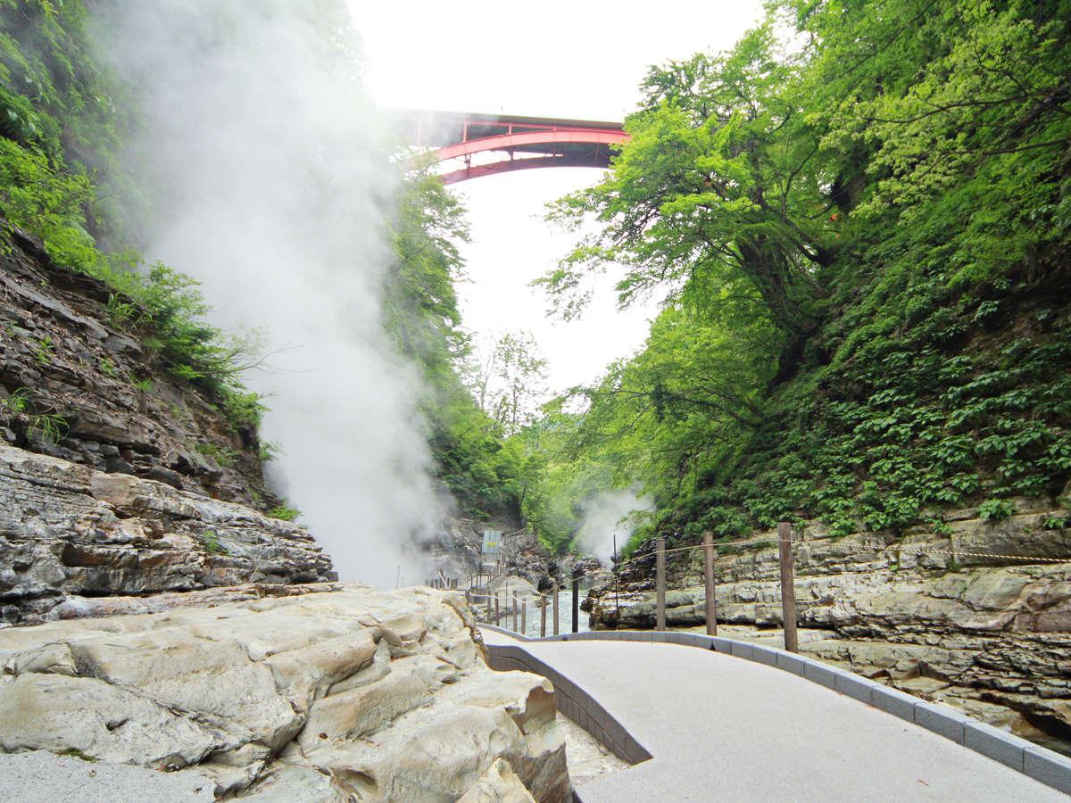 【大噴場】絶壁の岩間から蒸気が噴出する光景は圧巻です。
