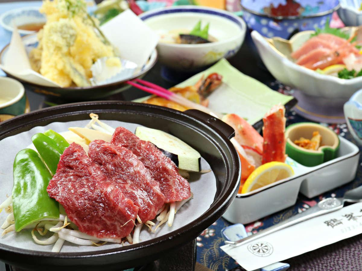 【ご夕食一例】希少な『みなせ牛』の陶板焼きをメインに、真心を込めた手料理でおもてなし。