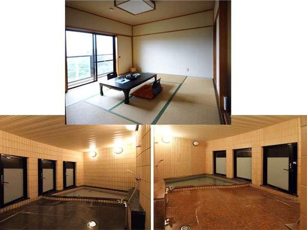 和室8畳。お部屋からは相模湾を望めます♪足を伸ばしてゆったり入れる無料貸切風呂☆