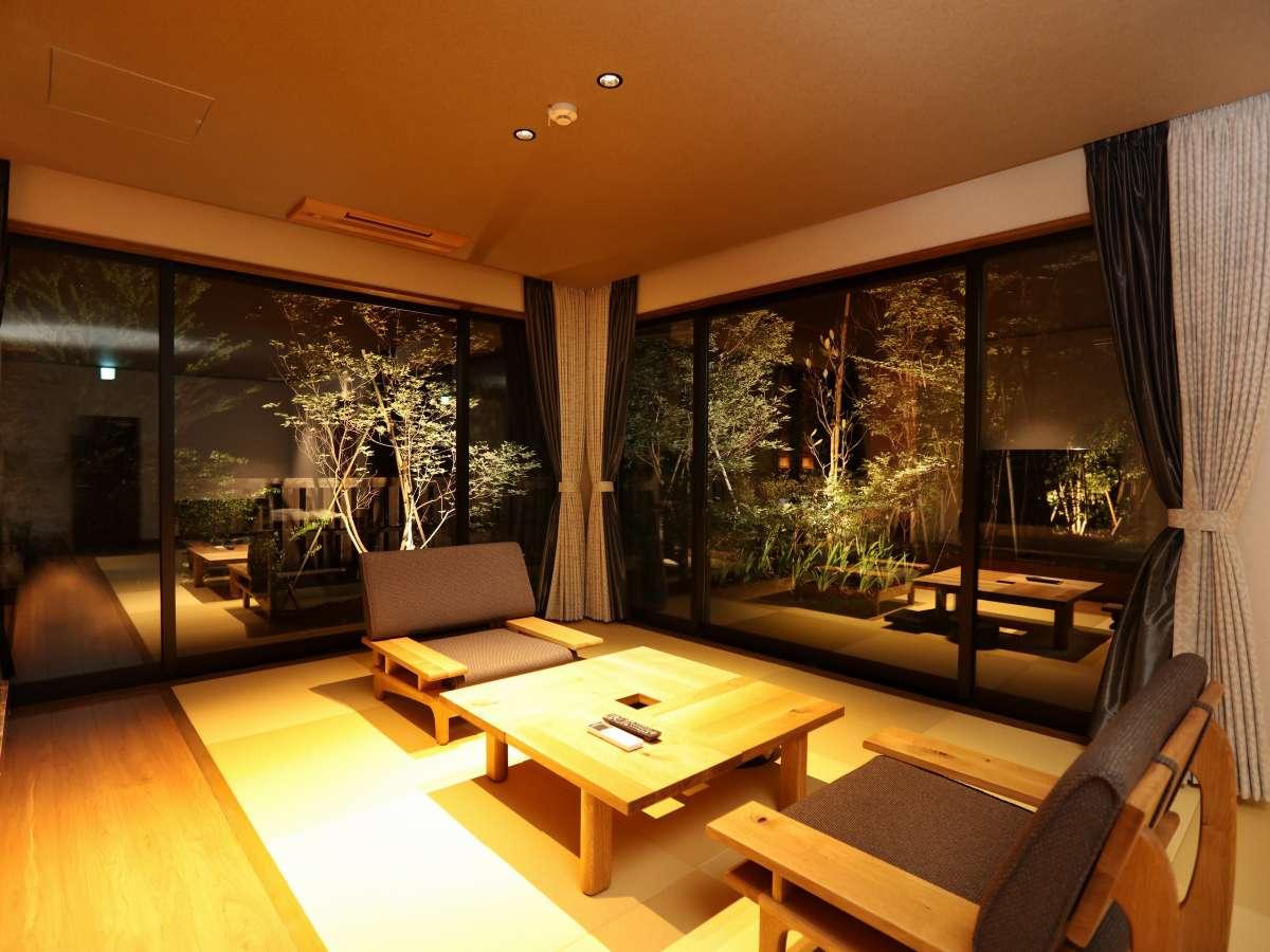 タイプG【釈迦岳】定員2名の客室です。最大3名迄ご宿泊いただけます。広々73㎡