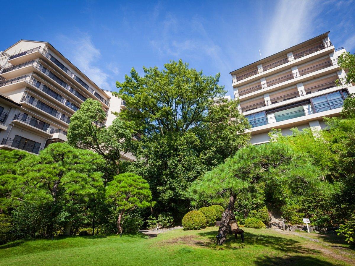 昭和天皇も散策した歴史ある日本庭園からの見上げた風景は風情たっぷりです。