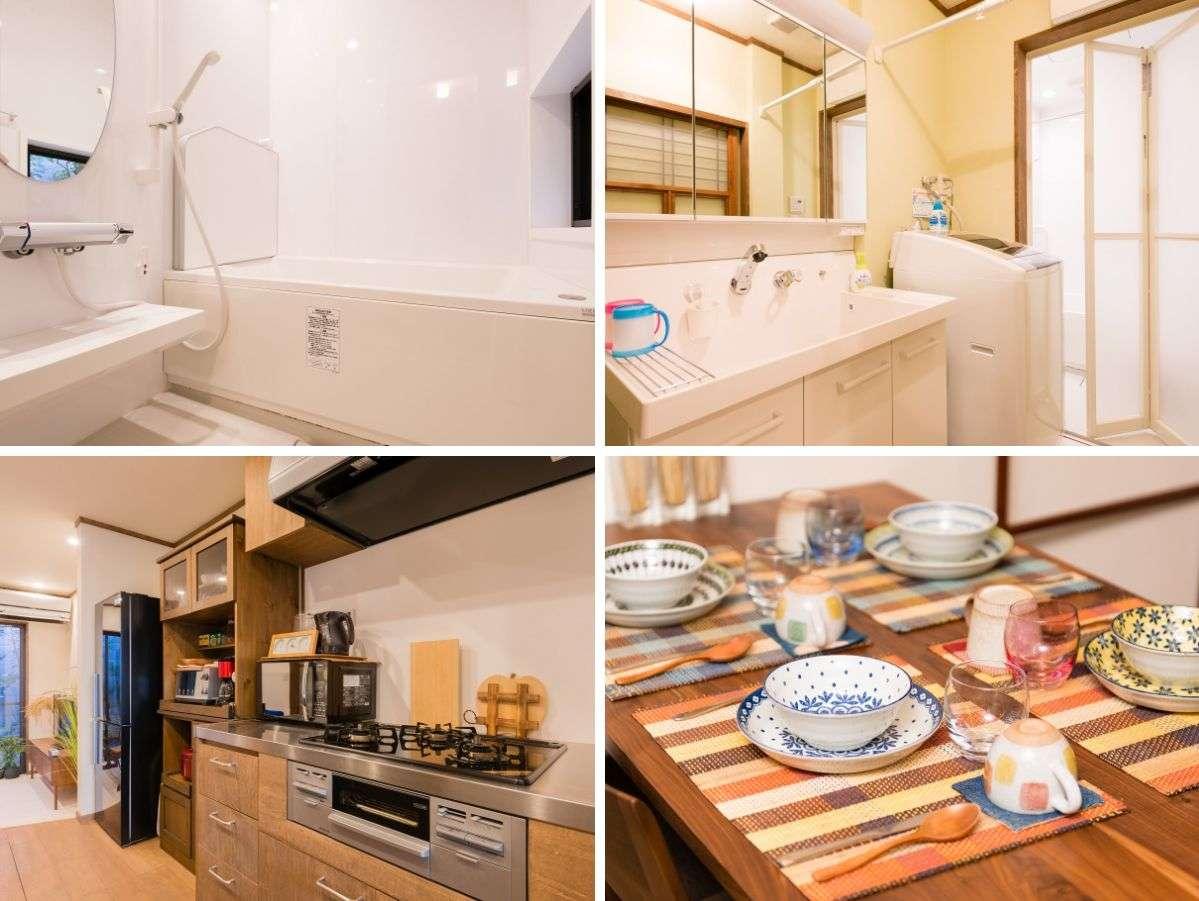 調理器具や食器は一式揃えており、グループでのお料理や長期滞在など、楽しく快適に過ごせます