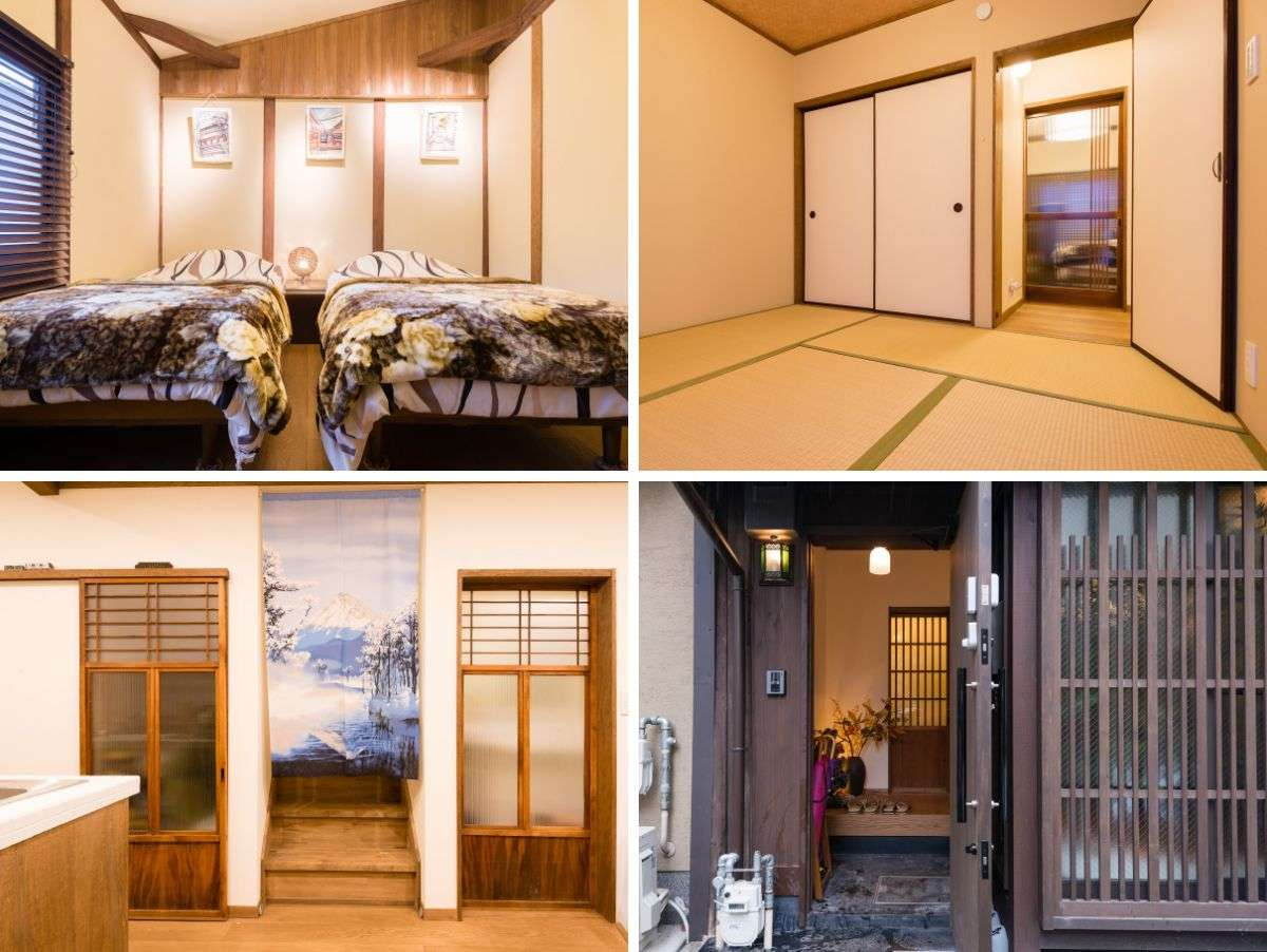 洋室に3名(ベッド2台 + 床敷きマットレスまたはベビーベッド)、和室に2名まで滞在可能です