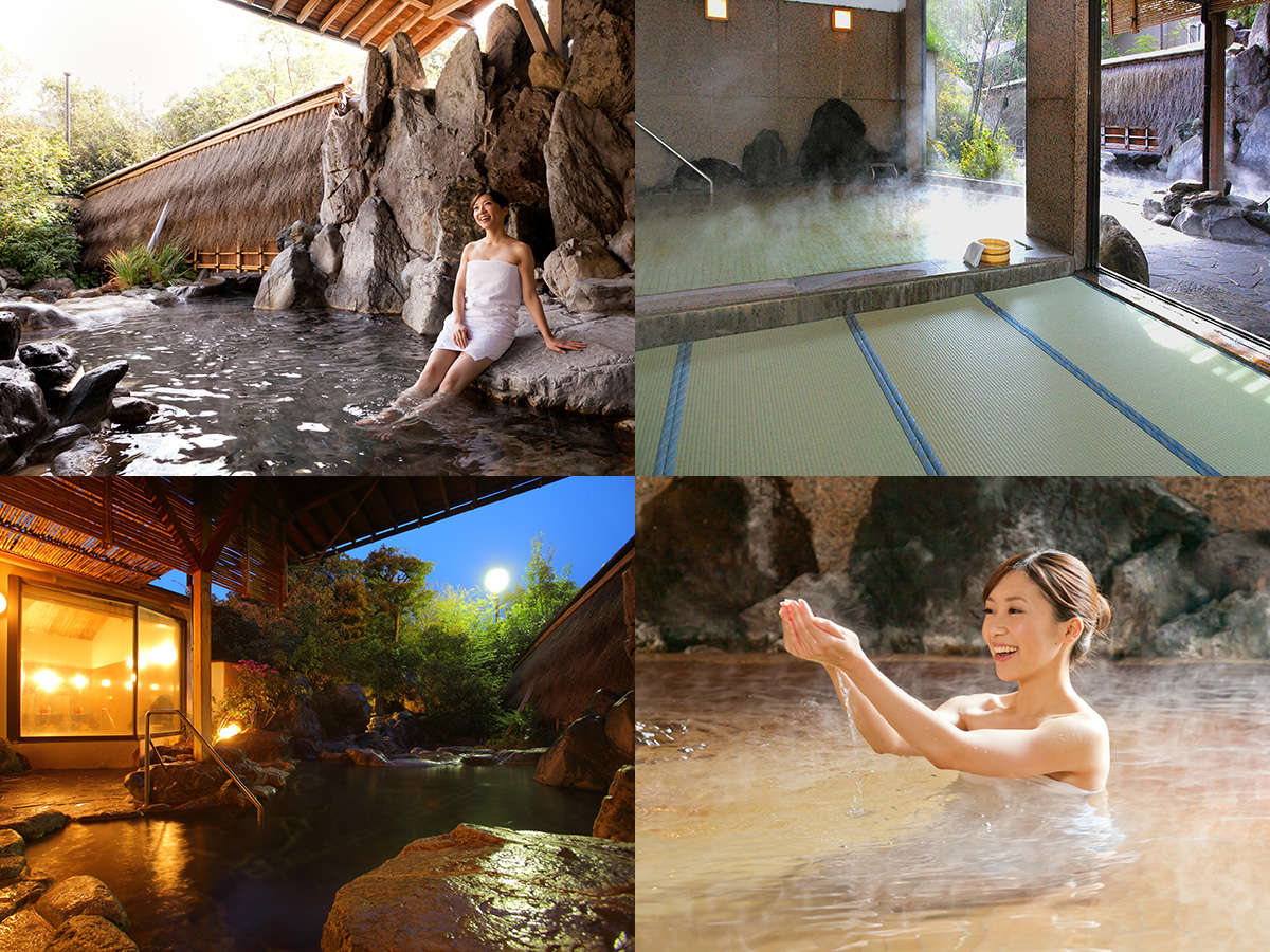W美肌の湯として人気の温泉。「星の湯」「宙の湯」2つの湯を露天風呂や畳風呂などでお楽しみいただけます