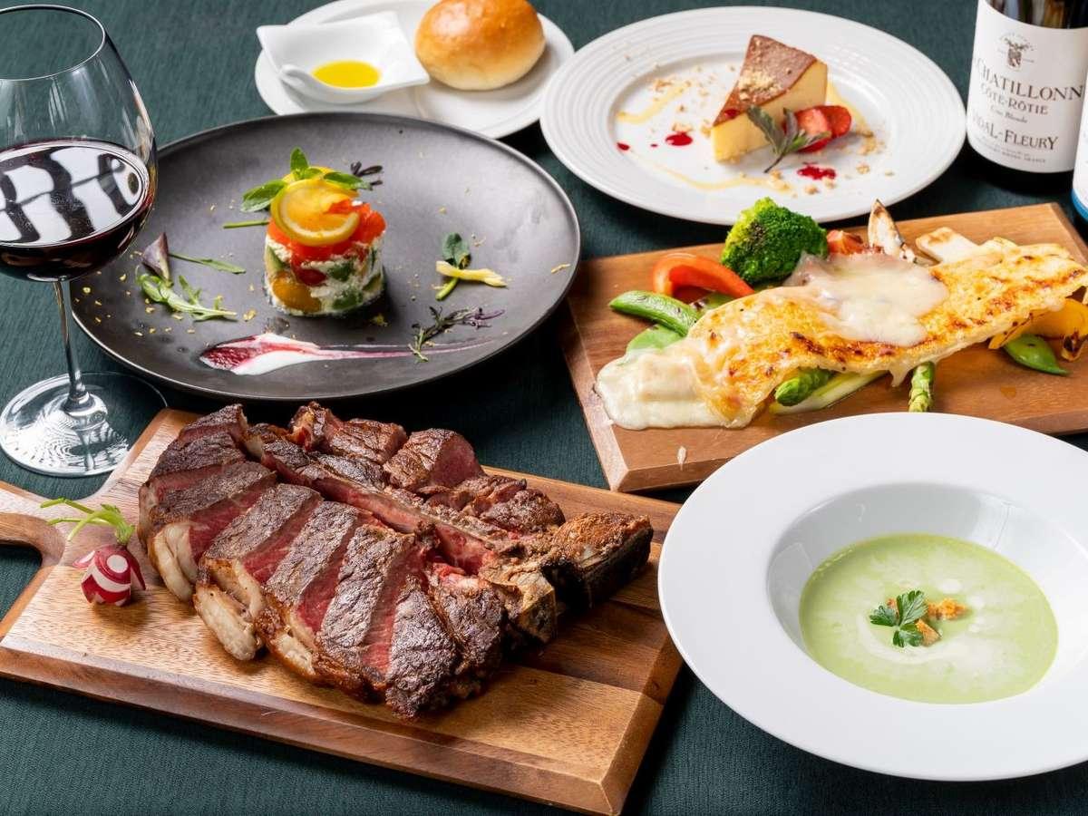 熟成肉のTボーンステーキがついたコースディナー