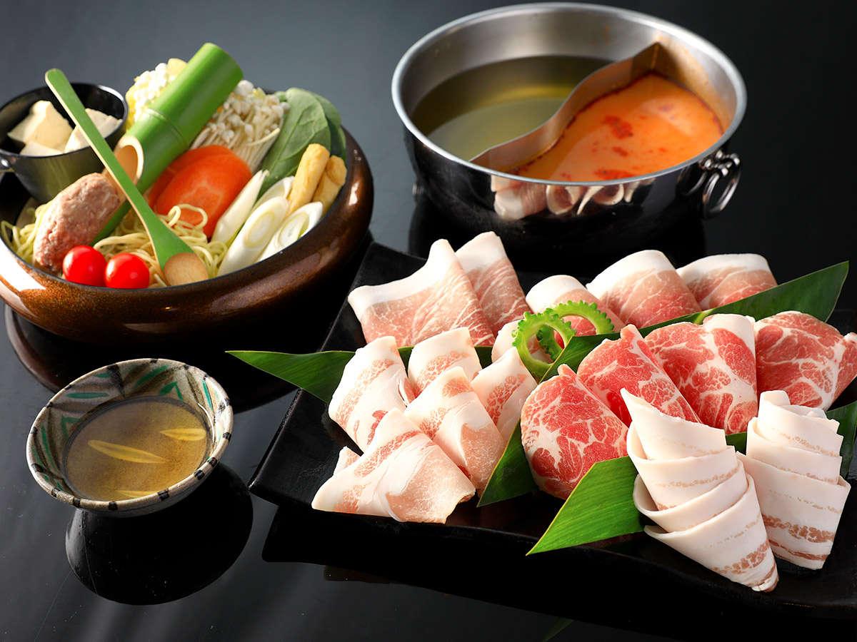 夕食:あぐー豚のスープしゃぶしゃぶ