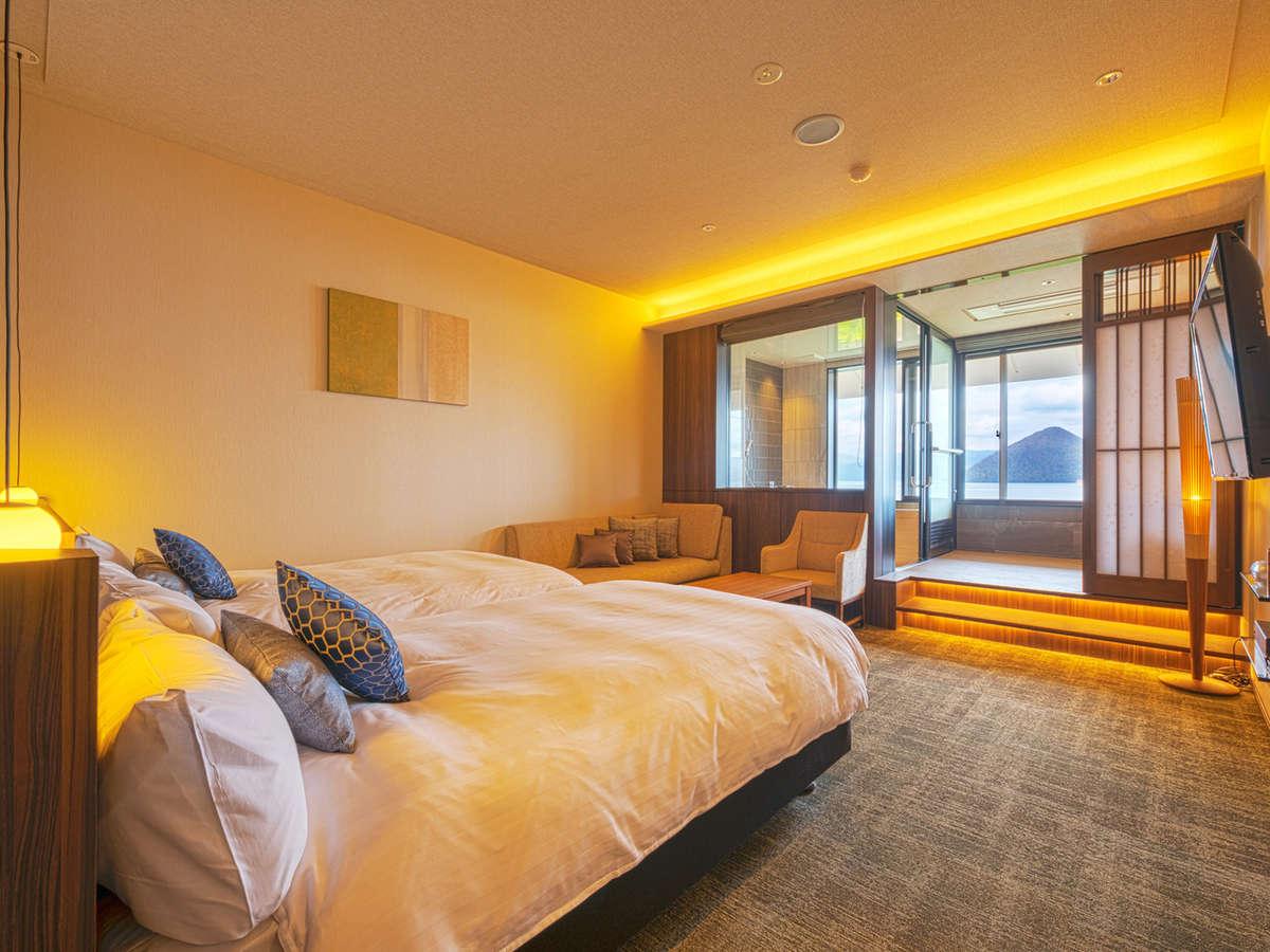 一般客室(ツイン)はしつらえの異なる4タイプのご用意があり全室レイクビューとなります。