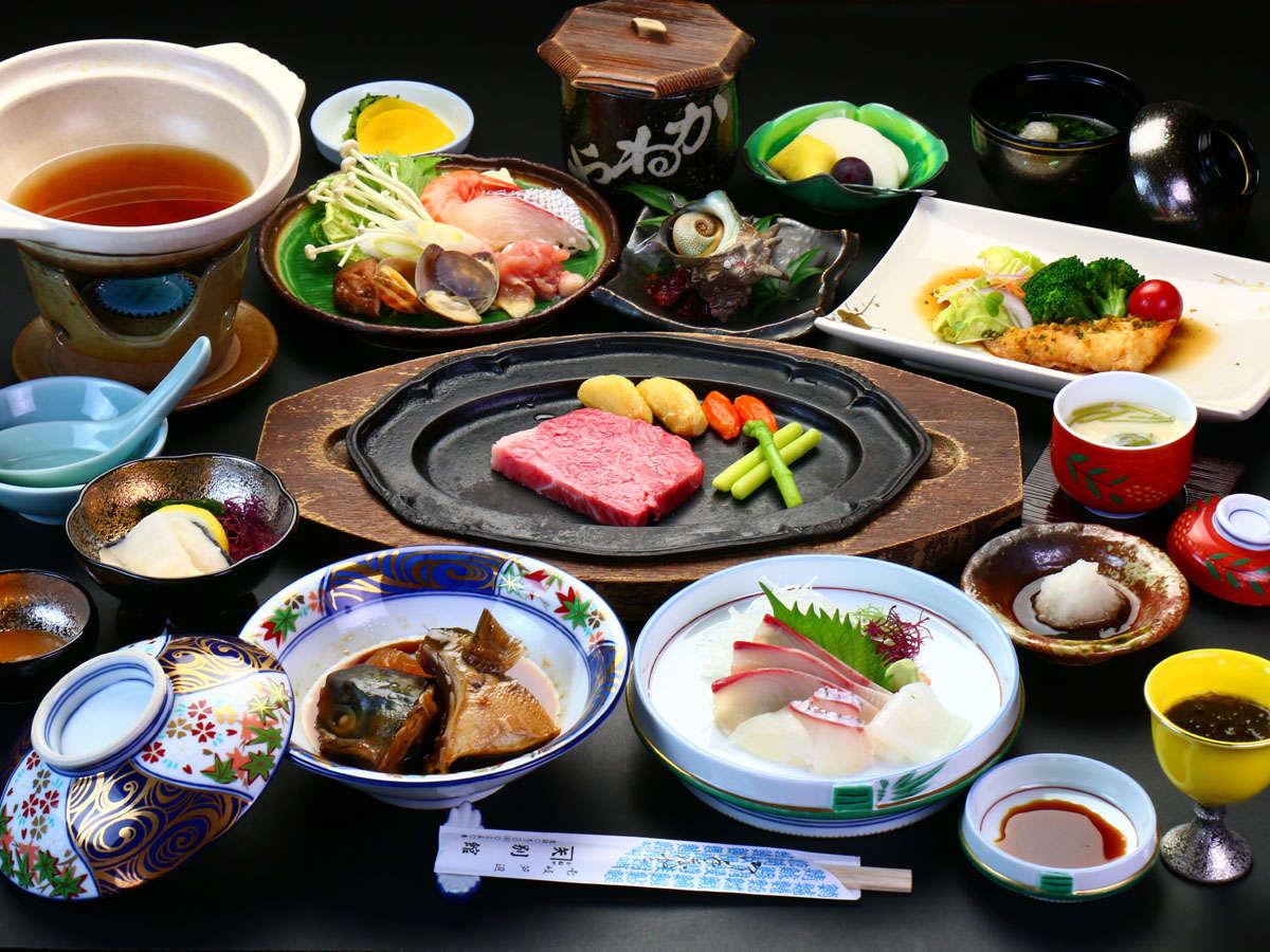 【期間限定会席一例】新鮮な海の幸に壱岐牛のステーキ+贅沢な海鮮鍋orあわびより選択可能♪