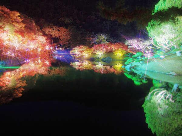 栗林公園のライトアップ風景