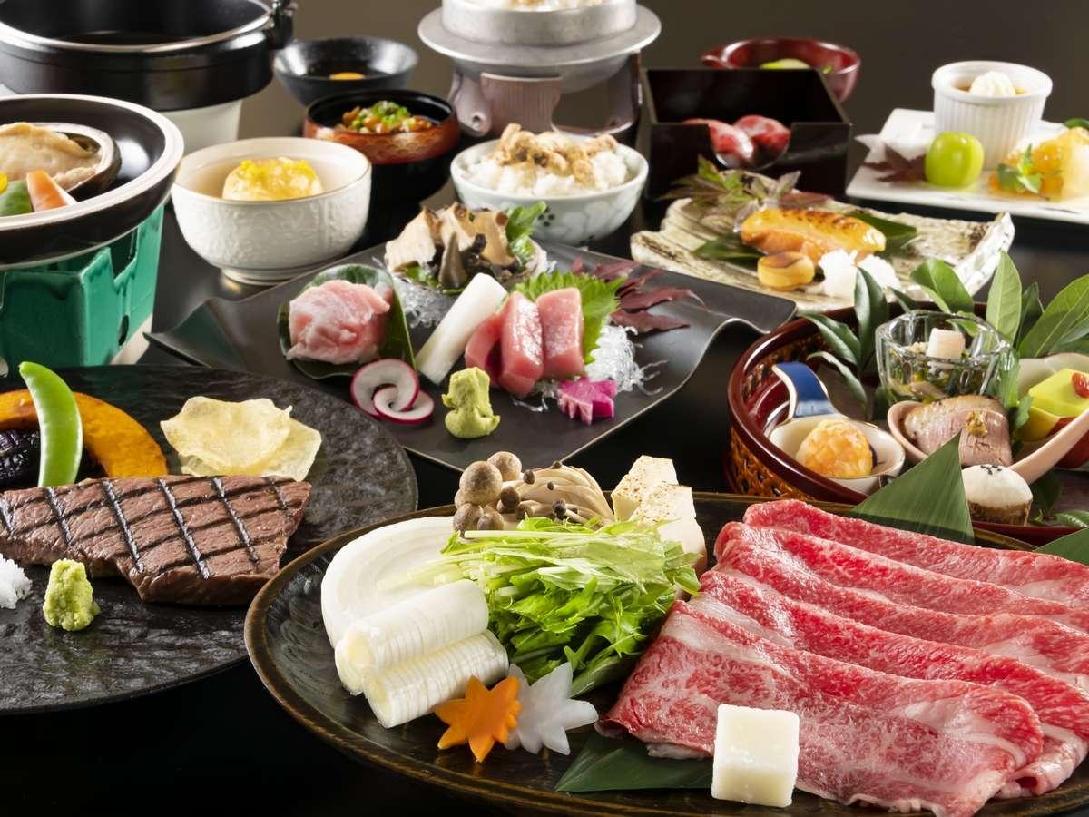 【秋の漁火膳】鮑陶板焼き、グレードアップのお造りがついたプレミアムコースです。