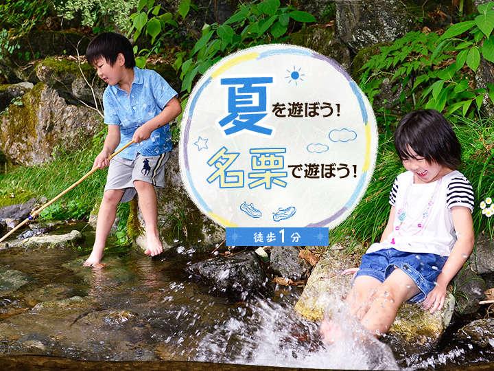 夏をあそぼう!名栗であそぼう!大松閣の目の前に心地よくせせらぐ小川が流れ、涼しげな滝がございます。