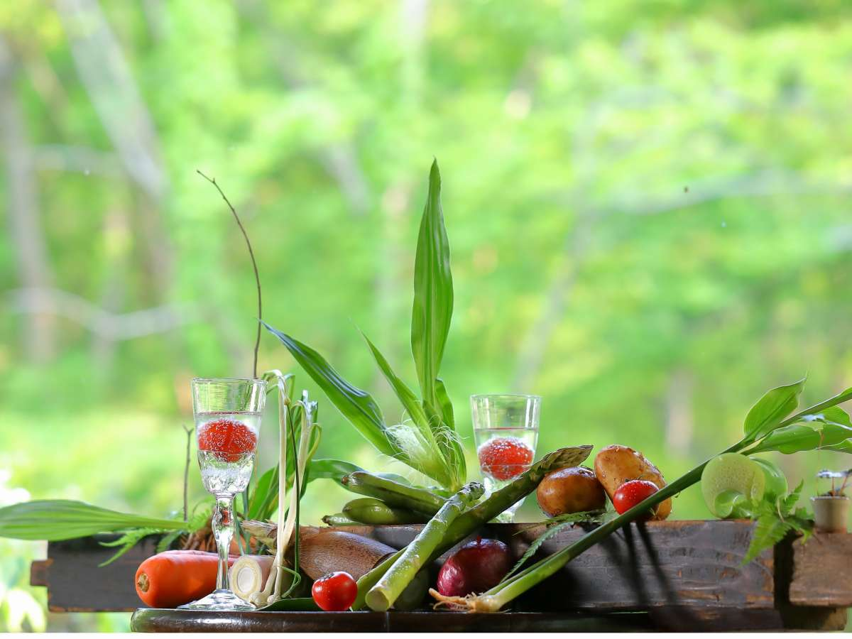 【夕食・会席料理・夏】野菜たっぷり、旬の素材を生かしたお食事は大きな窓のレストランで。