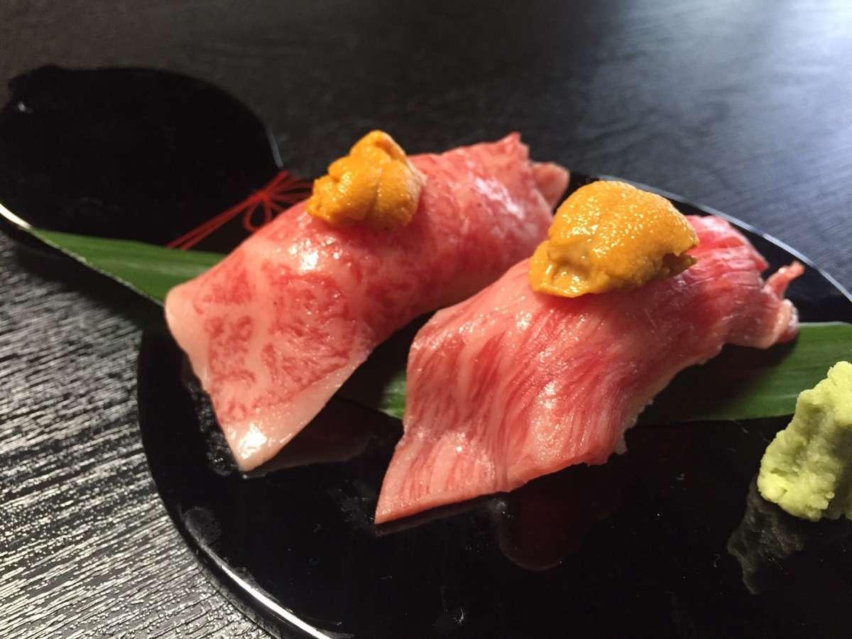 千歳楼の新メニュー「雲丹×飛騨牛」握り寿司で至福のひととき