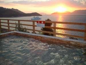露天風呂から見る夕日
