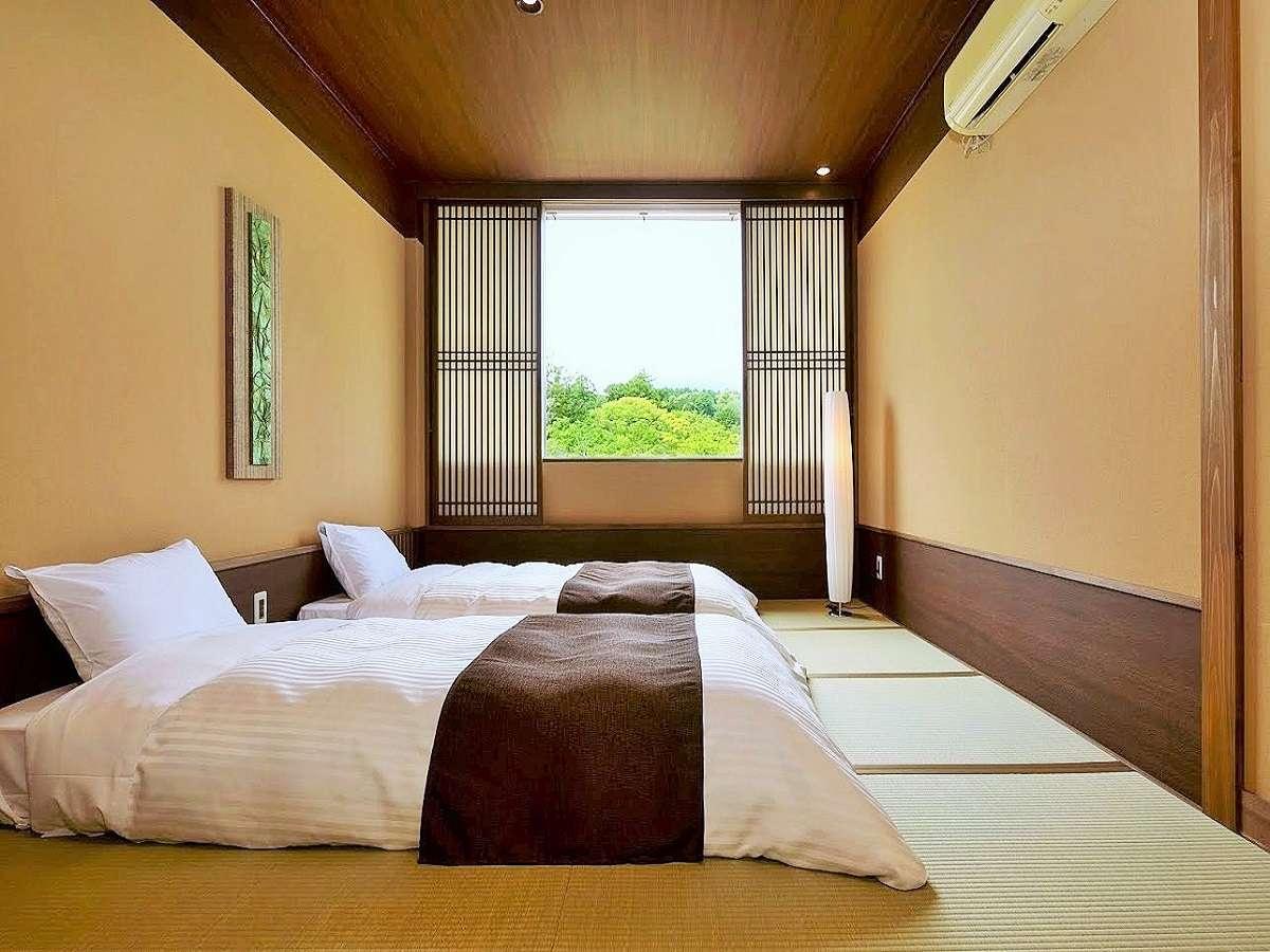 【本館和洋室】畳上にシングルローベットを置いた新しい和モダンのお部屋