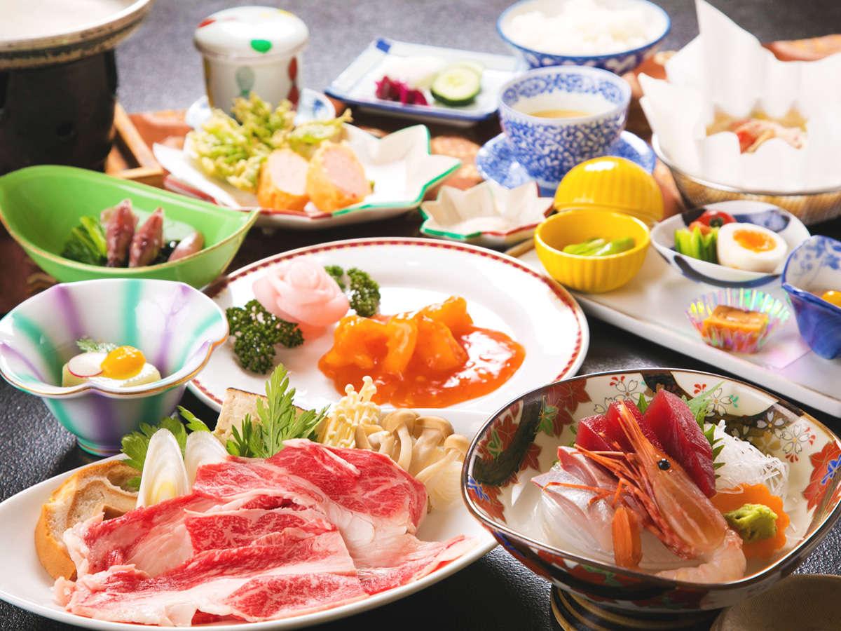 ■ニュー扇屋自慢のお料理■ 地元産の食材を使い、メインの『県産和牛の鋤鍋』と『洋皿料理』が自慢です♪