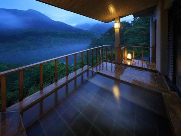 渓谷を望む大浴場の露天風呂