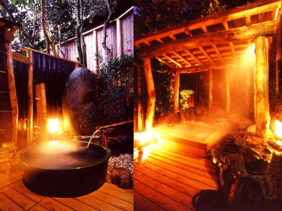 風情の異なる2つの貸切露天風呂。