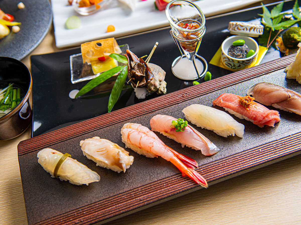 【夏・会席一例】新鮮な海鮮を江戸前寿司でお楽しみ下さい。