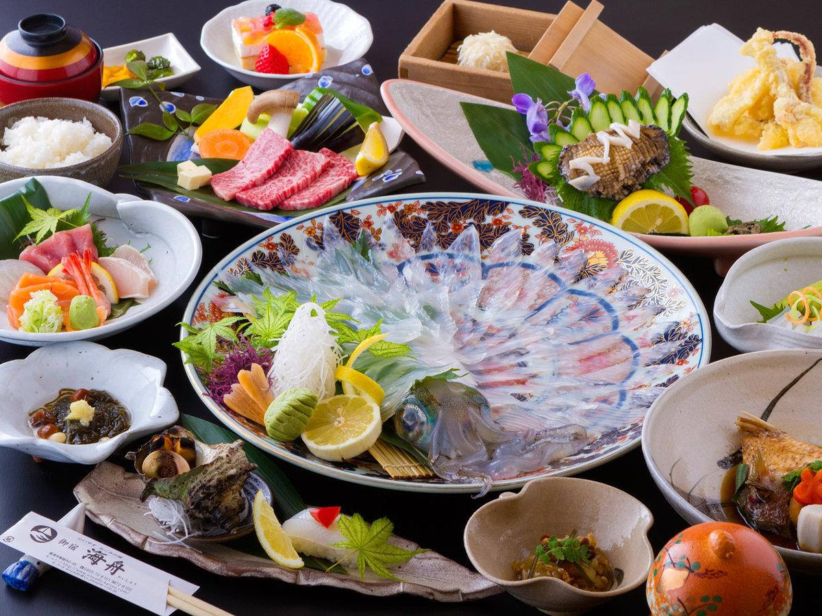 イカ&佐賀牛&アワビ会席/イカは水イカです(一例)
