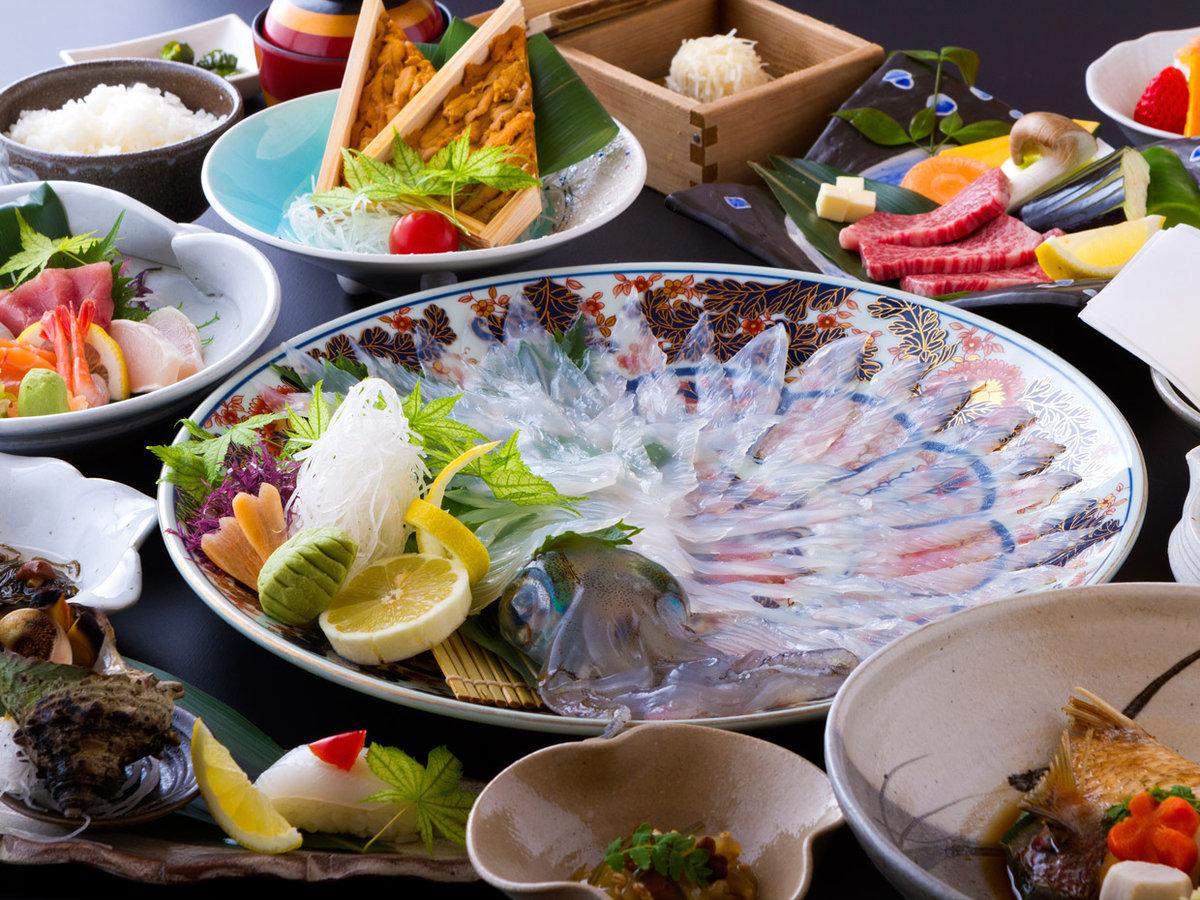 イカ&うに&佐賀牛会席/イカは水イカです(一例)