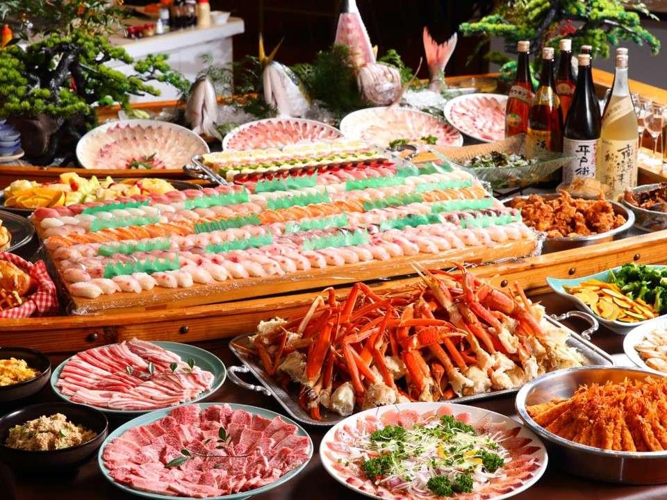 メガ海鮮バイキング!平戸近海の海幸に和牛も!和洋中約50種の料理が食べ放題!